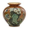 Riessner stellmacher  kessel amphora vase enamel decorated with a maiden ca 1900 rstk stamp47212 6 12