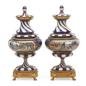 Pair of sevres style bronze mounted covered vases central reserves with hunting motifs gilt highlights late 19thearly 20th c painted mark 15