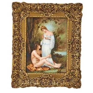 Continental porcelain plaque man embracing a woman by a river 1891 framed signed m poncet zbinden and dated plaque 13 x 10