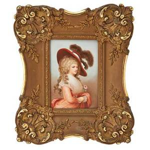 Kpm porcelain plaque young woman in 18th c dress ca 1900framed impressed kpm mark with scepter plaque 7 18 x 5 18