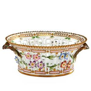Royal copenhagen flora danica porcelain basket painted with apple blossoms and apple 20th c marked 9 12 dia
