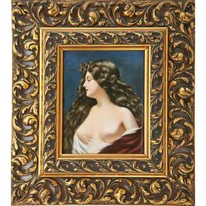 German porcelain plaque nude maiden ca 1900 framed initialed mm plaque 7 12 x 6
