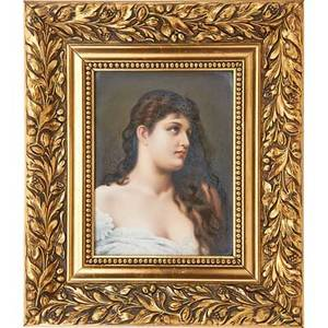 Kpm porcelain plaque young woman with long dark hair ca 1900 framed impressed kpm mark with scepter plaque10 x 7 12