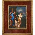 Kpm porcelain plaque the banishment of ishmael and hagar after adriaen van der werff late 19th c framed impressed kpm mark with scepter plaque 10 x 7 12