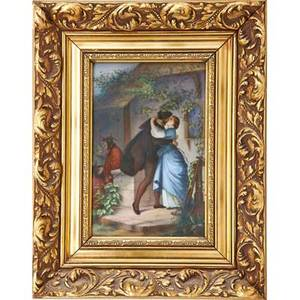 German porcelain plaque embracing couple in 18th c dress ca 1900 framed impressed numbers plaque 10 x 7