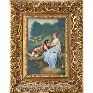 German porcelain plaque two young ladies in classical dress ca 1900 framed impressed numbers plaque 9 34 x 6 34