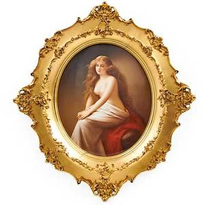 Kpm porcelain plaque solitude late 19thearly 20th c gilt frame impressed kpm mark with scepter plaque 13 12 x 11 12