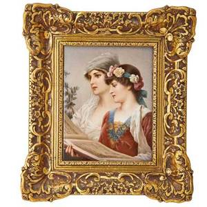 Kpm porcelain plaque two maidens reading sheet music ca 1900 framed impressed kpm mark with scepter plaque 10 12 x 8