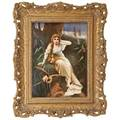Kpm porcelain plaque a seated maiden beneath a tree with owl in flight ca 1900 framed impressed kpm mark with scepter plaque 10 x 7 12