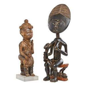Luba and ashanti people african carved wood figures seated luba royal figure and an ashanti seated mother and child 20th c larger 30