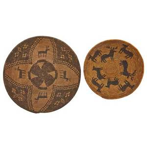 Apache woven baskets two with deer and geometric designs early 20th c larger 14 12 dia