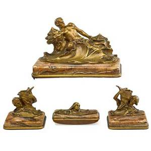 Hans muller austrian 18731937 four piece figural bronze desk set mounted on marble 20th c inkwell pair candlesticks and blotter all signed tallest 7 12