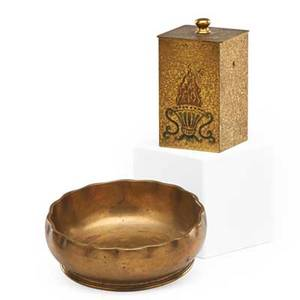 Tiffany studios gilt bronze smoking set ashtray and cigarette dispenser early 20th c marked tiffany studios new york dispenser 4