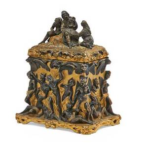 Continental gilt and patinated bronze box the lid with man and woman resisting a devil the body with dancing devils serpents and other creatures 19th c 8 x 6 12 x 4 12