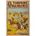Four tompkins real wild west posters by the donaldson lithograph company ca 1914 cowboys on bucking horses hanging scene cowgirl on horseback and cowboy roundup each 20 x 30