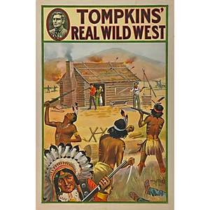 Five tompkins real wild west posters by the donaldson lithograph company ca 1914 log cabin shoot out stagecoach shoot out native american chief native american chief in profile and native ameri