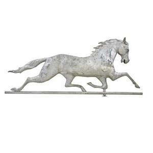 Galloping horse weathervane hollow copper body with cast copper head and zinc mounts 20th c 16 x 38 x 4 12 horse only