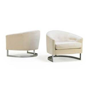 Milo baughman 1923  2003 thayer coggin pair of lounge chairs high point nc 1970s chromed steel velvet unmarked 25 x 30 12 x 30
