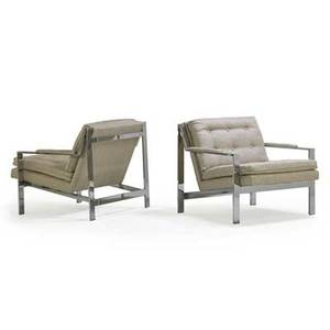 Milo baughman 1923  2003 thayer coggin pair of angle bar lounge chairs high point nc 1970s chromed steel upholstery unmarked 27 12 x 30 x 33