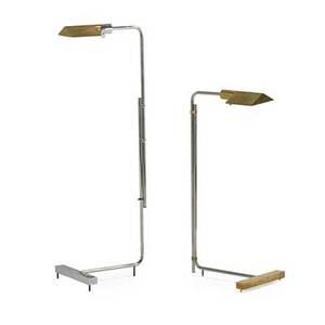 Cedric hartman b 1929 two adjustable floor lamps omaha ne 1980s chromed steel brass acrylic taller signed taller 40 x 11 x 13 shorter 30 x 11 x 14