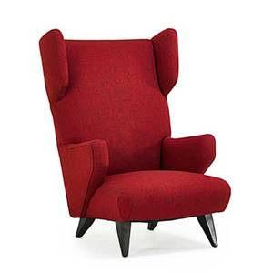 Jens risom b 1916 knoll associates rare wingback lounge chair new york 1950s painted wood wool unmarked 43 12 x 30 x 38
