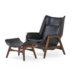Edward wormley 1907  1995 dunbar lounge chair and ottoman berne in 1950s walnut vinyl unmarked chair 36 12 x 29 x 36 ottoman 17 x 24 x 17 12