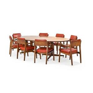 Edward wormley 1907  1995 dunbar set of eight riemerschmid chairs no 4797 and dining table berne in 1950s walnut tawi matte and chromed steel leather brass d labels to all pieces pape