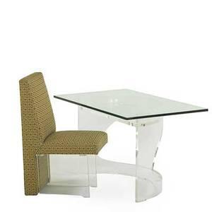 Vladimir kagan b 1927 vladimir kagan designs inc plexi desk and clod side chair new york 1970s acrylic glass upholstery upholstery label desk 29 x 49 34 x 29 34 chair 38 34 x 18