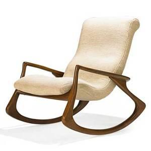 Vladimir kagan b 1927 vladimir kagan designs inc contour rocking chair no 175f usa 1970s sculpted walnut wool unmarked 38 x 31 12 x 43