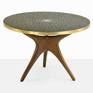 Vladimir kagan b 1927 kagandreyfuss rare mosaic trisymmetric dining table new york 1950s sculpted walnut bronze glass tesserae unmarked 30 12 x 44 14 dia