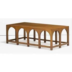 Th robsjohngibbings 1905  1976 widdicomb coliseum coffee table grand rapids mi 1950s walnut decal stenciled numbers retailer metal label 16 x 48 x 24