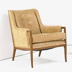 Th robsjohngibbings 1905  1976 widdicomb chair grand rapids mi 1950s walnut upholstery unmarked 32 12 x 27 x 36