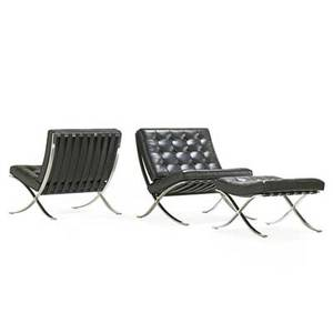 Ludwig mies van der rohe 1886  1969 knoll international pair of barcelona lounge chairs and ottoman new york 1970s stainless steel leather manufacturers labels chair 29 12 x 29 x 30
