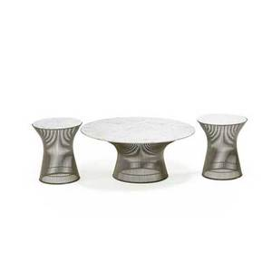 Warren platner 1919  2006 knoll international coffee table and two side tables new york des 1966 nickeled steel carrara marble unmarked coffee table 15 12 x 36 dia side tables 18 1