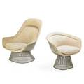 Warren platner 1919  2006 knoll international easy chair and lounge chair new york des 1966 nickeled steel wool manufacturers labels easy chair 38 34 x 34 x 37 lounge chair 30 14