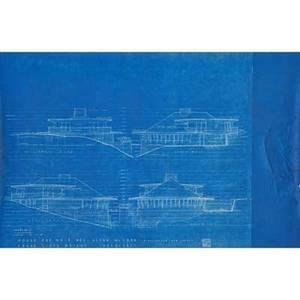 Frank lloyd wright 1867  1959 set of six blueprints for mr and mrs glenn mccord never built ca 1949 each signed in print frank lloyd wright architect and chop mark 43 x 28