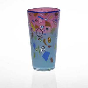 Richard marquis b 1945 ro purser noble effort cylindrical blown glass vase with murrini california 1986 signed and dated in murrine 7 34 x 4 14
