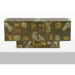 Paul evans 1931  1987 paul evans studio fourdoor patchwork cabinet new hope pa 1970s patinated copper and bronze pewter slate unmarked 31 x 72 x 21