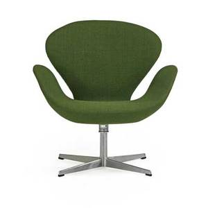 Arne jacobsen 1902  1971 fritz hansen swan chair no 3320 denmark ca 1971 wool upholstery aluminum plastic foil label and raised signature 30 x 30 x 26 provenance available copy of