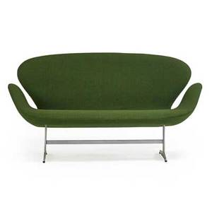 Arne jacobsen 1902  1971 fritz hansen swan settee no 3321 denmark ca 1971 wool upholstery aluminum plastic unmarked 31 x 56 12 x 29 provenance available copy of original receipt
