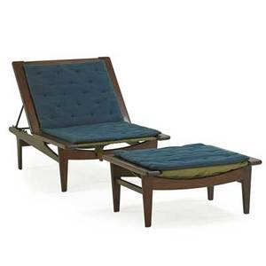 Hans wegner 1914  2007 getama adjustable lounge chair and ottoman denmark 1950s padouk enameled steel brass upholstery manufacturers branding to chair and ottoman chair 30 x 30 x 72