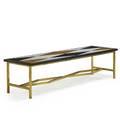 Italian coffee table 1950s brass marble onyx unmarked 17 12 x 68 14 x 20
