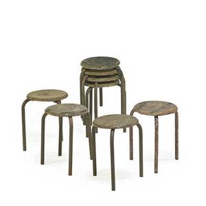 Jean prouve 1901  1984 ateliers jean prouve set of eight stools france 1930s enameled wood and steel several examples stamped mess brigad with numbers 17 12 x 15 dia