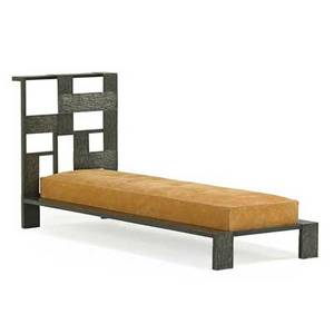 Style of edgar brandt daybed france 1930s hammered and patinated metal leather upholstery unmarked 32 x 66 x 24 12