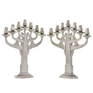 French pair of art deco style nickeled metal candelabra unmarked 21 34 x 19 34