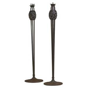 Louis katona 1850  1933 pair of wroughtiron floor lamps with ginkgo leaves france 1920s both stamped l katona france 65 x 16 12 dia