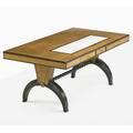 Christian krass 1868  1957 desk lyon france 1940s oak mahogany parchment brass unmarked 29 34 x 71 x 38