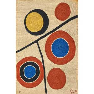 After alexander calder 1898  1976 bon art jute fiber tapestry floating circles nicaragua 1974 embroidered ca 75 5 fabric label 72 x 48