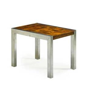 Paul evans 1931  1987 directional backgammon table usa 1970s mattechromed steel walnut burl suede laminate unmarked 30 x 40 x 28 12