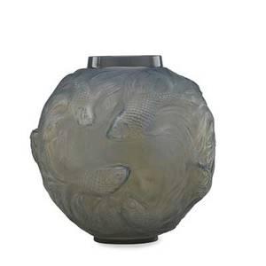 Lalique formose vase cased grey glass france des 1924 m p 425 no 934 impressed r lalique etched france no 934 6 34 x 6 12